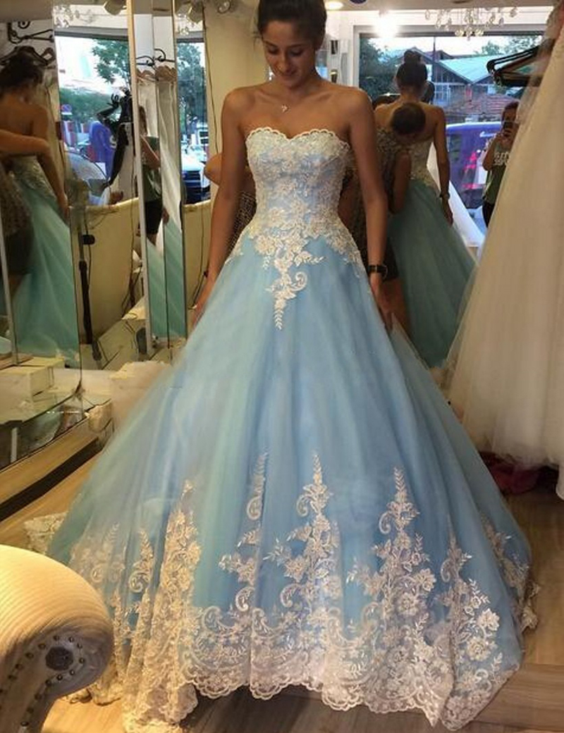 New Design Light Blue Sweetheart Wedding Dress Charming Tulle