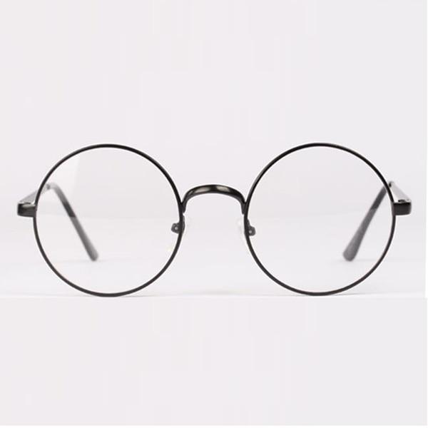 Նորաձևություն ռետրո կլոր շրջանաձև մետաղյա շրջանակ ակնոցով պարզ ոսպնյակներով ակնոցներ Unisex