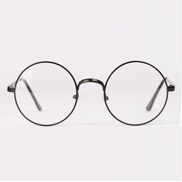 Mode Retro Putaran Lingkaran Logam Bingkai Kacamata Batal Lens Kacamata Unisex