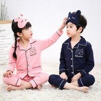 2018 Spring Autumn Cotton Kids Pyjamas Suit Cartoon Children's Long sleeved Cardigan Boys Pajamas Children's Set Girls Home Wear