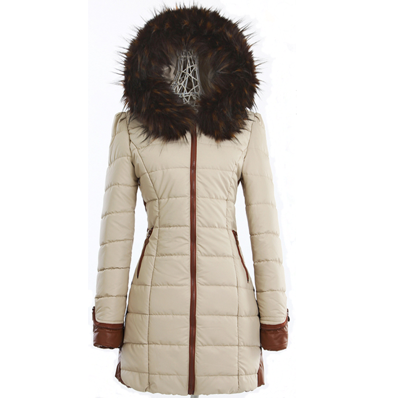 ФОТО free shipping2013 new winter large fur collar plus size medium long thick warm slim women down cotton padded jacket L-XXXL D2127