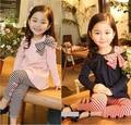 2017 Del Otoño Del Resorte Niños Clohting Sets Pink Black Girls Ropa Bow Kids 2 unids Trajes Vestido de Manga Larga A Rayas + pantalones