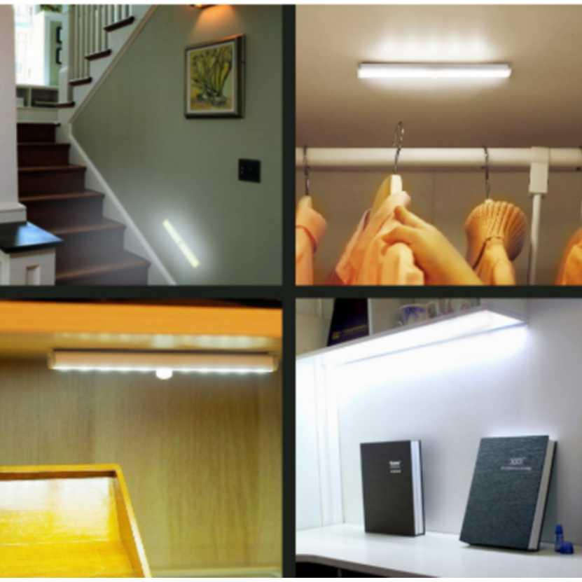Motion Sensor LED Night Light 10 LEDs LED Closet Table Lamp Kitchen Cabinet Motion Detector Battery Powered Toilet Night Light