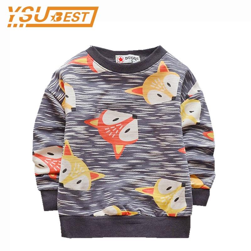 2018 Boys Girls Casual Coat Cartoon Animal Fox Pattern Girls Hoodies Outwear Spring Children's Clothing Kids Long Sleeve T-shirt