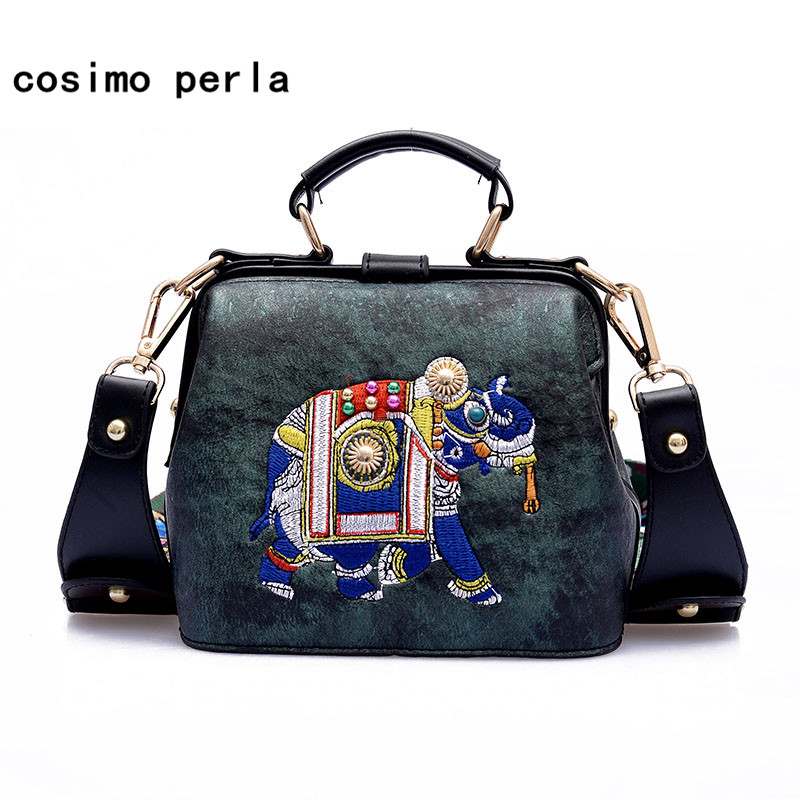 Ethnic PU Leather Elephant Doctor Handbags Embroidery Design Fashion Bag for Women Wide Strap Brand Small Ladies Shoulder Bags 2018 new original genuine leather women handbags shoulder portable embroidery bag ethnic style embroidery big dumplings bags
