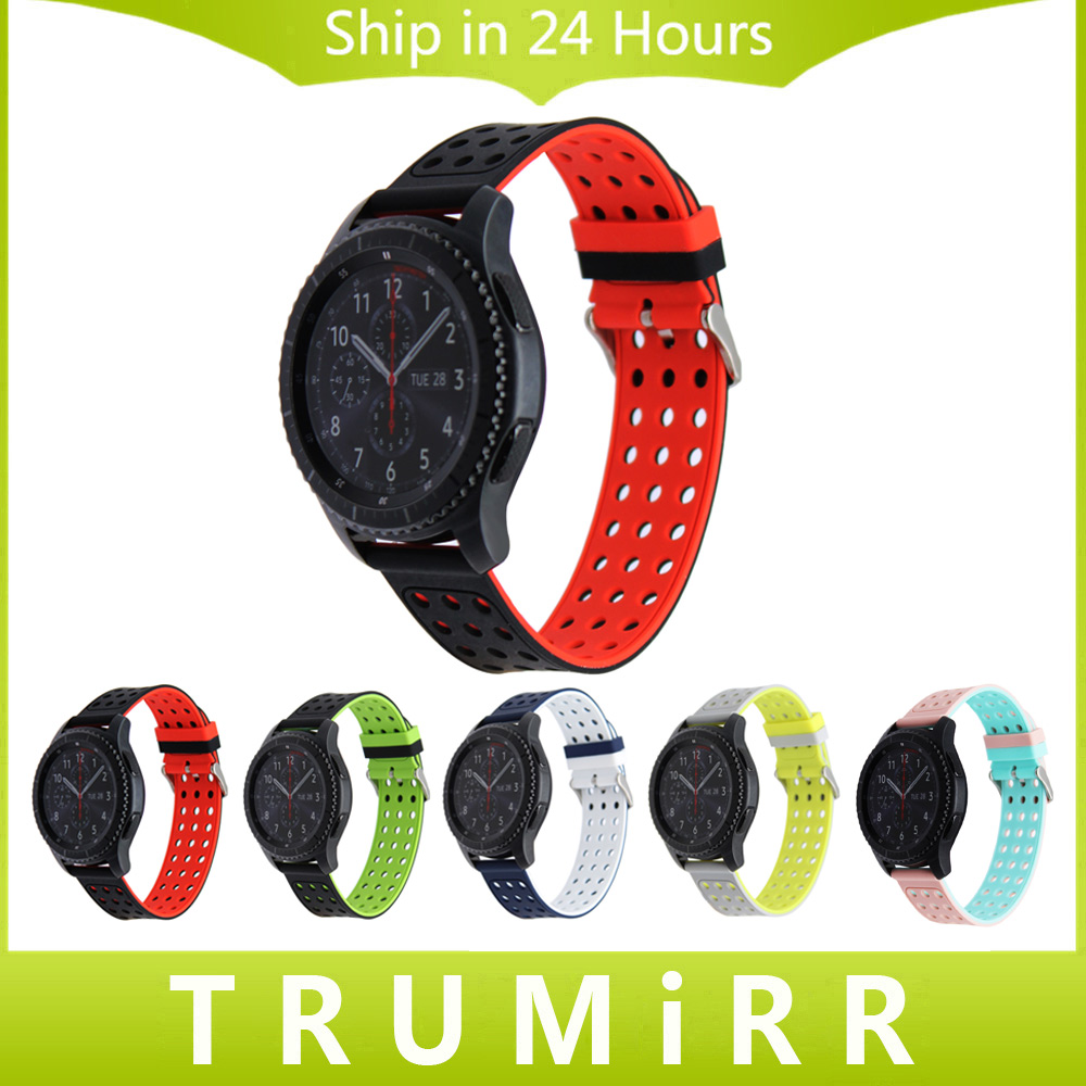 Quick Release Silicone Rubber Watchband 22mm for Samsung Gear S3 Classic Frontier Watch Band Sports Wrist Strap Black Red Blue