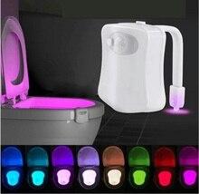 Светодиодный датчик движения 8 цвета, автоматическое переключение ночного освещения в туалете