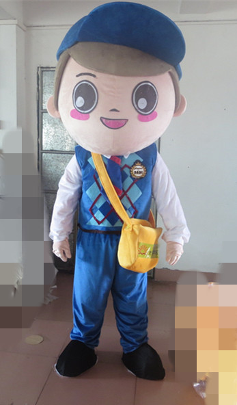 Yellow Postman Pat Mailman Mail Letter Carrier Man Mascot Costume With Red Bag White Shirt Blue Clothes for Halloween party