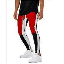 men zipper pants patchwork pencil casual trousers joggers sweatpants elastic waist male hip hop cotton