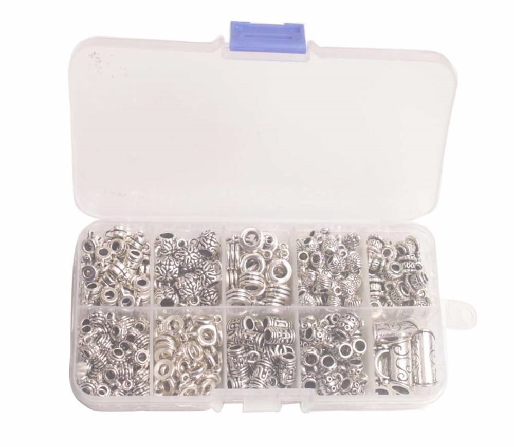 One BOX of Antiqued Silver Metal Toggle Clasp Bead Caps Cord End Bails W/Container for Jewelry Making