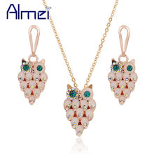 Almei 49% off Wedding African Costume Jewelry Set Women Owl Earrings Necklace Sets Gold Color Mariage Jewellery Children JS0068(China)