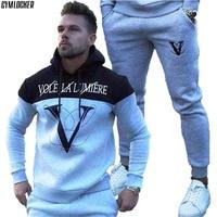 GYMLOCKER NEW sporting slim fit sets mens Jogger Gyms fashion tracksuit Men's Sportwear Suit Hoodies+pants Tracksuit Set Male