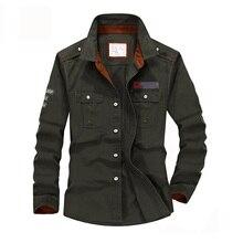 Мужская джинсовая рубашка в стиле милитари, брендовая Повседневная рубашка из 100% хлопка с длинным рукавом, армейского зеленого цвета, размера плюс, размеры до 5XL, A3056