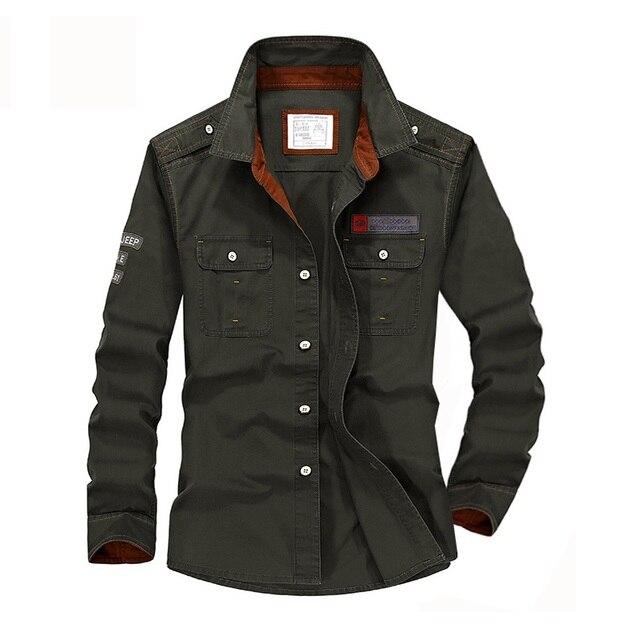 Plus Size S XXXXL 5XL Brand 100% Cotton Long Sleeve Denim Shirts Men Army Green Militray Casual Camiseta Masculina A3056