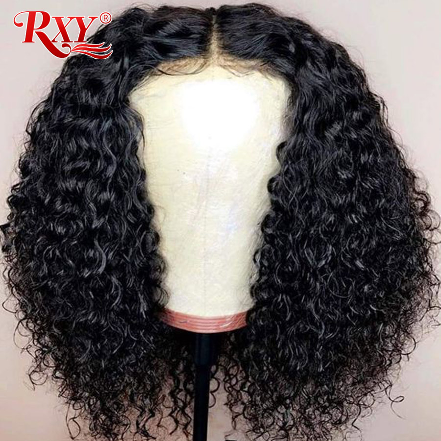 RXY Short Bob Kinky Curly Lace Front Human Hair Wigs For Black Women Brazilian Remy Lace