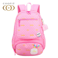 Coofit Pink Girls Schoolbag Dot Printing Bookbag For Primary School Students with Pompom Lovely School Backpack For Girls Child