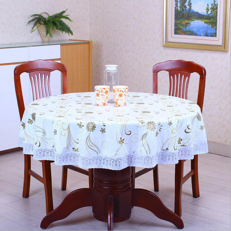 Pastoral PVC Round Table Cloth Waterproof Oilproof Floral Printed Lace Edge Plastic  Table Covers Anti Hot Coffee Tablecloths In Tablecloths From Home ...