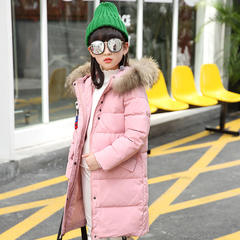 2018 Autumn Winter Girl's Down Jacket Medium-long Girls Down Coat with Large Fur on Collar BLACK GREEN PINK 120CM-150CM london fog heritage women s long down coat with fur collar