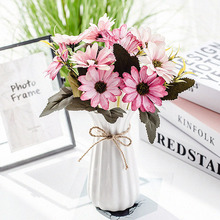 10 cabezas artificiales Gerbera flores de seda Vintage Margarita literaria flor falsa girasol decoración de la boda accesorios de decoración del hogar