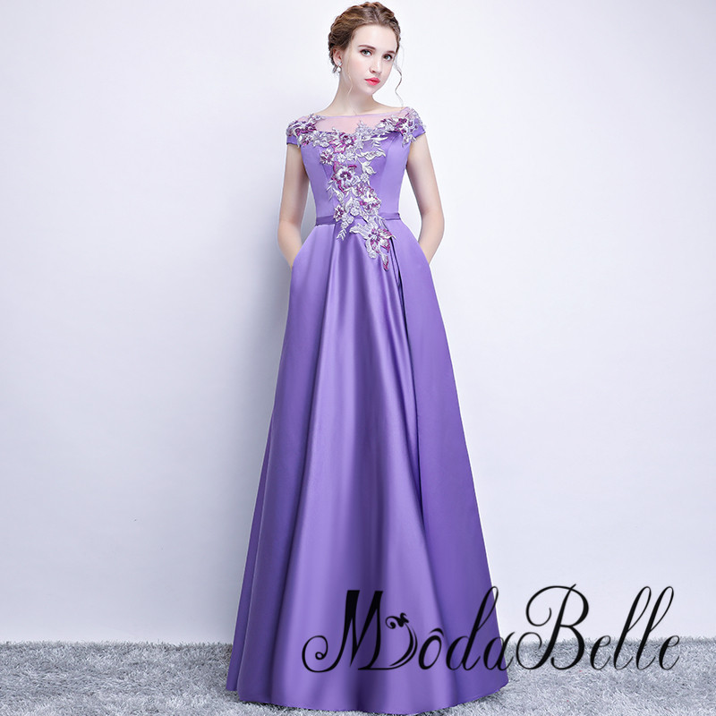 916576ad29 modabelle Elegant Purple Appliques Prom Dresses Women A-line Satin Vestidos  De Fiesta Largos Elegantes De ...