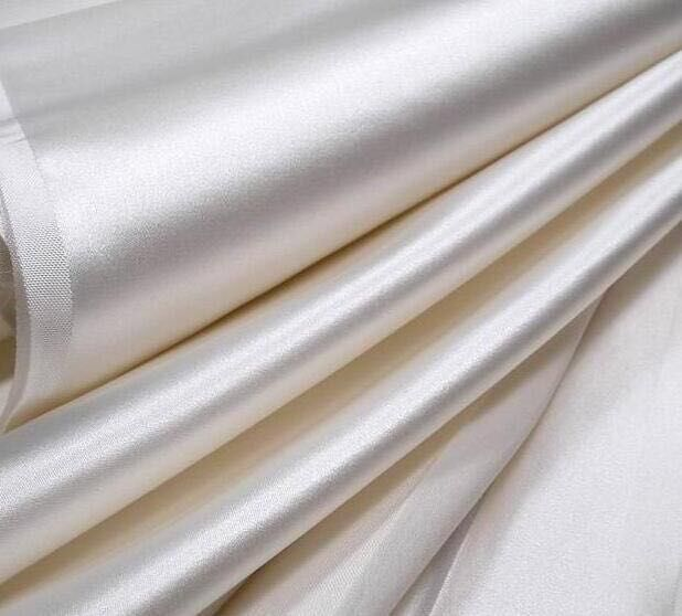 Howmay 100 Pure Silk Duchess Satin Fabric 265m M 140cm Yarn Dyed White