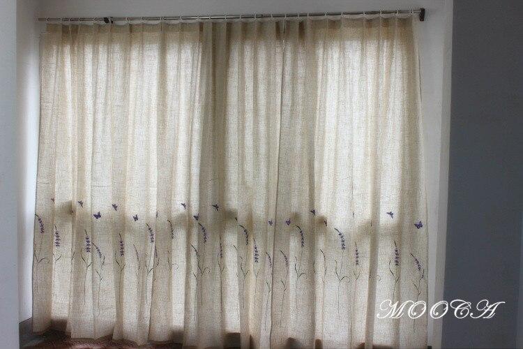Lavanda ricamato tende di lino per il soggiorno finito tenda camera da letto 175x180 cm un pezzo - Tende viola per camera da letto ...