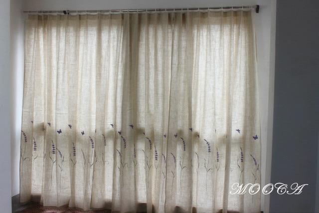 Lavendel Bestickte Leinen Vorhänge Für Wohnzimmer Fertig Schlafzimmer  Vorhang 175x180 Cm Einem Stück Lila Vorhang