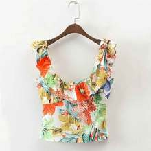 Women Camisole Tank Top Fashion Summer Clothing Ruffles Design Floral Print Blouse Shirts Sleeveless Tops Female Cami Blusa