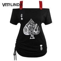 VESTLINDA T-Shirt Das Mulheres Praça Neck Manga curta Camisa Preta de T Mais tamanho Ombro Frio Cartas De Poker Top Ladies Top Tee Tamanho Grande