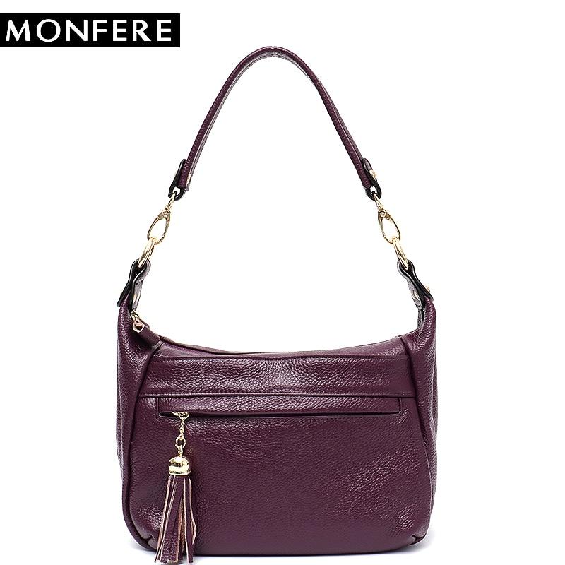 все цены на MONFERE Genuine Leather Satchel Bags for Women Ladies Handbag Multi Pockets Shoulder Bag High Quality Cow leather Messenger Bags