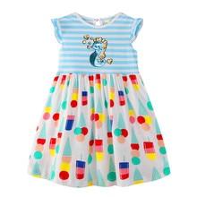 Kids Stripes Polka Dot Flower Dress Girl Unicorn Floral Dress Girls Unicorn Dress Summer Cute Princess Children Clothing