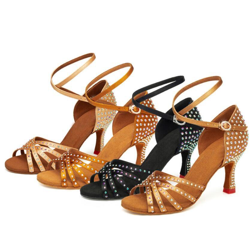 Danse pour Femmes Strass Tango À Talons Hauts En Satin Danse Filles Femmes Salle De Bal Latine Chaussures Dames 7 cm De Danse Sneakers A111
