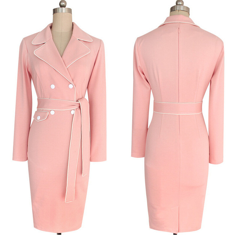 Elegant Sexy Long Sleeve Work Party Bodycon Pencil Dress Vestidos De ...