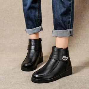 Image 3 - Женские ботинки из натуральной кожи OUKAHUI, черные теплые ботинки на низком каблуке, с кристаллами, из 100% натуральной шерсти, весна зима 2019