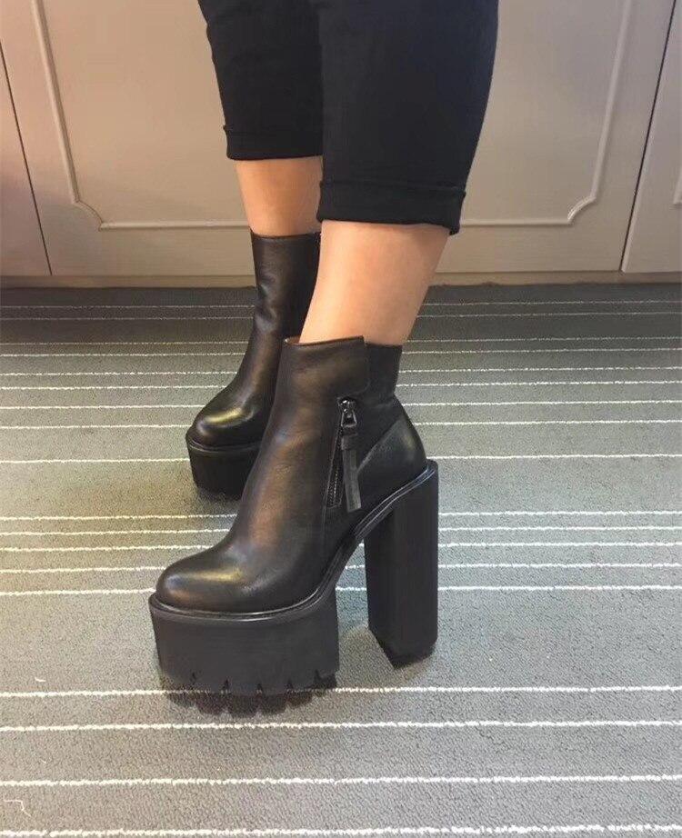 985438d71f5c5b Bottes 14 Plate Cm Chaussures Boot En D'hiver Cheville forme Noir Femme  Botas Moto Talons Carré Mujer Cuir Botines Femmes ...