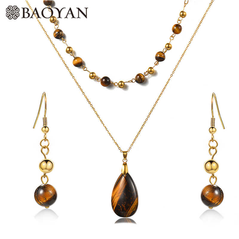 Baoyan Fashion Water Drop Quartz Crystal Jewelry Set Multi Layered Gold Plating Stainless Steel Natural Stone Jewelry Sets Women