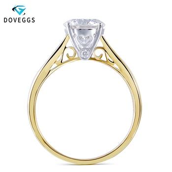 79b51ac3f655 DovEggs 14 K 585 amarillo y blanco oro 2ct quilates 8 MM F Color Moissanite  anillo de compromiso para mujer boda oro de anillo de compromiso