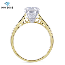 DovEggs 14K 585 Yellow and White Gold 2ct Carats 8MM F Color Moissanite Engagement Ring for Women Wedding