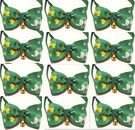 100pc lot St Patrick s Day Pet Dog Ribbon green bow Tie Grooming Bowknot Ties