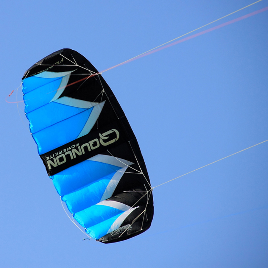 2sqm Blue Parafoil Stunt Kite Easy Flying Quad Line Kiteboarding Trainer Traction Kite For Beach Surfing Buggying