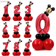 KAMMIZAD 17pcs/lot anniversaire mickey red number balloons for 1st. birthday party decorations kids Foil Ballons minnie baloons