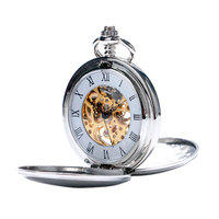 Sliver Mechanical Pocket Watch Smooth Roman Numberal Pocket Watch With Chain Relogio De Bolso Fob Skeleton