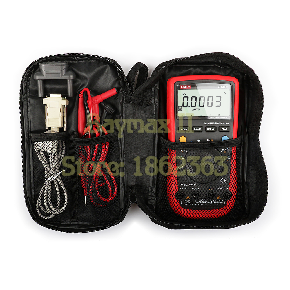UNI-T UT61E 22000 Counts High Accuracy AC/DC T-RMS Digital Multimeter for Ohm, Capacitance Measurement with Carrying Bag uni t ut61e 22000 counts true rms digital multimeter ac dc voltage current resistance capacitance tester with rs232c cable