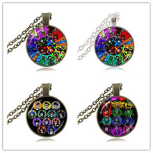 Homestuck Necklace God Wheel Game Comic Pendant 12 Trolls Mspaint Adventures Zodiac Jewelry  Glass Cabochon Bronze Chain HZ1