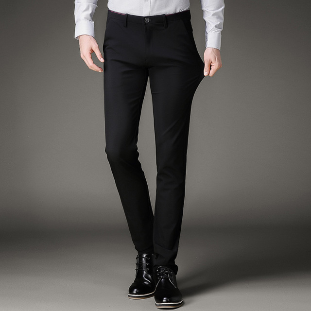 ba36d5dd9 US $21.84 48% OFF|Men Suit Pants Men's Black Slim Fit Dress Pants Office  Trousers Big Size Business Classic Men's Office Pants Perfume Masculino-in  ...