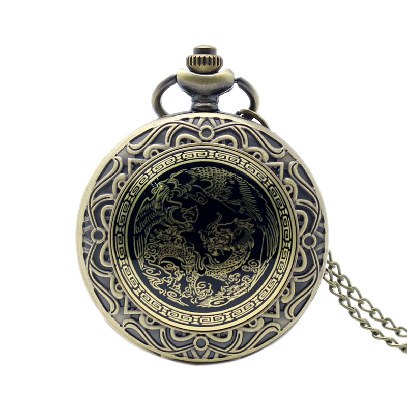 Retro Chinese Style Dragon Phoenix Pocket Watch With Necklace Chain Bronze Fob Watch