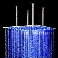 20 x 20 LED потолочный Дождь Насадки для душа Нержавеющаясталь полированная Никель