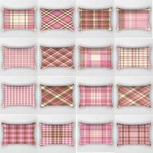 Hot sale color  geometric plaid pattern rectangle pretty men women pillow case home cover 50*30cm