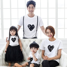 family matching clothes 2016 Korean Children short sleeve T shirt female Couples t shirts clothing Paternity