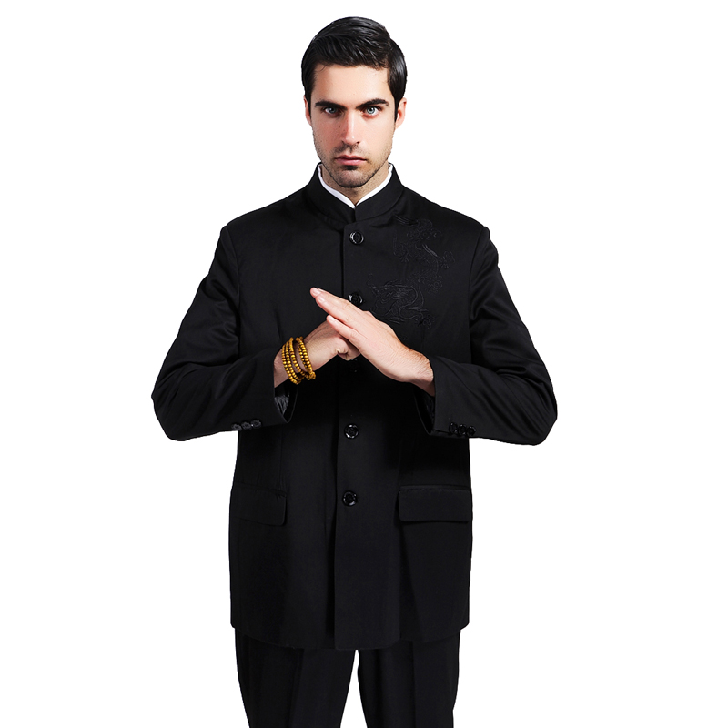 Black Traditional Chinese Tunic Suit Men Mandarin Collar Jacket Apec Leader Coat Embroidery Dragon Tang Suit